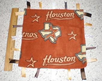 Houston Astros Fleece Baby Sensory Ribbon Tag Blanket