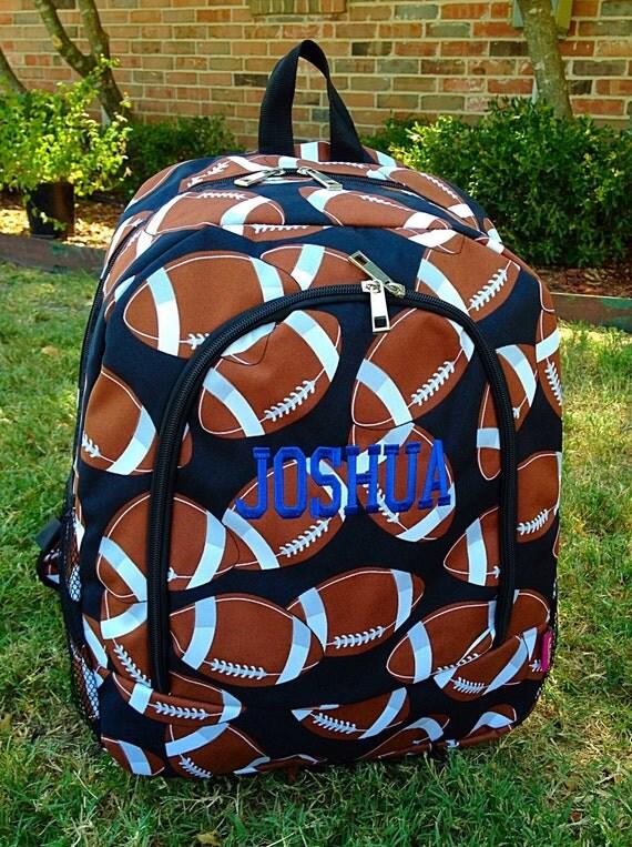 sale football backpack or diaper bag monogrammed name or. Black Bedroom Furniture Sets. Home Design Ideas