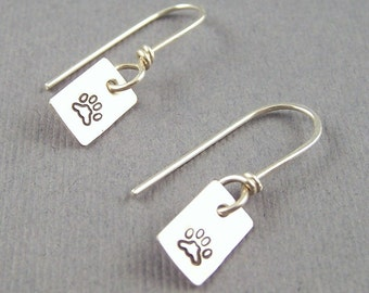 Sterling Silver Smaller Than Bitty Rectangle Pawprint Earrings
