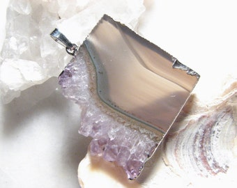 Lavender, Gemstone Slice Druzy Pendant