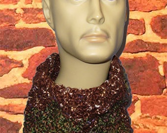 Crocheted Neck Warmer, Gaiter/Buff Neck Warmer, Bulky Green & Brown