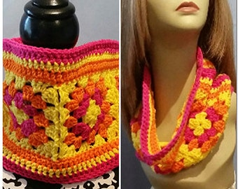 Crocheted Neck Warmer, Gaiter/Buff Neck Warmer, Bright Granny Squares
