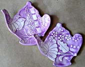 TWO Ceramic Tea bag teapot Holders Purple ring holders