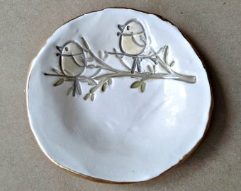 Ceramic Ring Dish Off White edged in gold birds on branch
