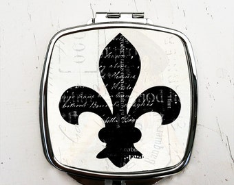 Black and White Fleur de Lis Compact Pocket Mirror