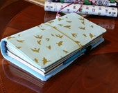 Fauxdori Extra wide Style Fabric Travelers Notebook Fauxdori  gold birds on mint No internal pockets