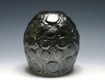 Mirrored Black Vase with Carved Circle Design