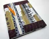 Refillable Fabric Covered Composition Notebook Cover w/ Zipper Pocket, Linear Abstract
