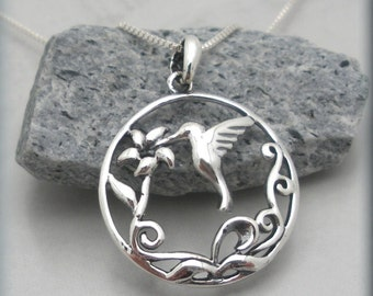 Hummingbird Necklace, Hummingbird Jewelry, Bird Necklace, Flower Jewelry, Nature Jewelry, Sterling Silver (SN883)