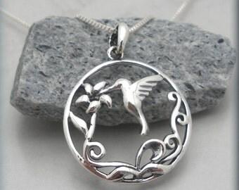 Hummingbird Necklace, Hummingbird Jewelry, Bird Necklace, Flower Jewelry, Nature Jewelry, Sterling Silver (SN883)