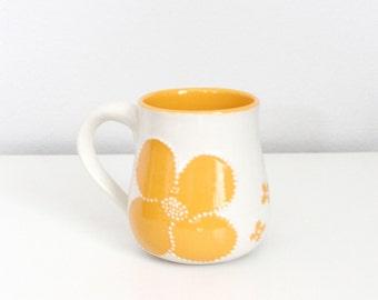 Orange Pottery Mug with Flowers and Dots - Flower Mug in Orange