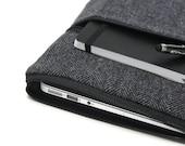 11 or 13 Inch MacBook Air Case Laptop Cover Men's Yoga Pro 3 Sleeve - Gray Herringbone Wool