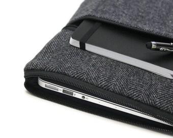 11 or 13 Inch MacBook Air Case Laptop Cover Yoga Pro 3 Sleeve - Gray Herringbone Wool