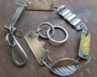 Silver Charm Bracelet Simple Design 23K Gold Keum Boo Funky Mixed Metal Bracelet