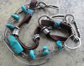 BOHO Silver Turquoise Leather BRACELET Funky Hippie Sundance Style Bracelet Triple Multi Strand Bracelet