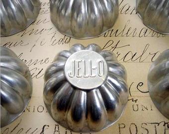 9 Vintage Jello Molds Aluminum Fluted Tins