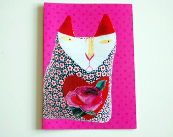 Cat Card - Birthday Card - Textile Art Soft Sculpture -  Hot Pink - Digital Print