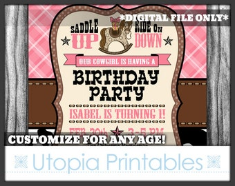 Cowgirl Theme Girl 1st Birthday Invitation Cute Rocking Horse First Birthday Country Western Old West Party Digital Printable Pink Brown 5x7