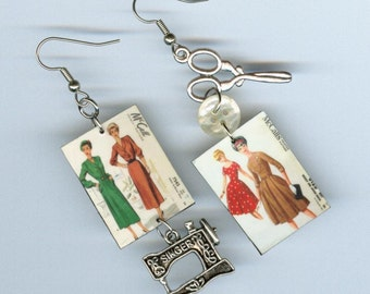 Seamstress Earrings - Vintage Sewing Dress Pattern - Fall fashion Autumn colors - Singer scissors - sewers gift - mismatched earring design