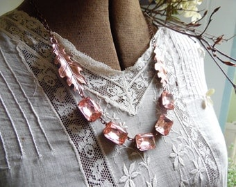 rustic copper and pink statement necklace, oak leaf necklace, pink statement necklace, woodland necklace, leaf necklace, copper necklace.