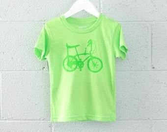 Neon Toddler 4T Tee - WHEELIE bike T-shirt Grass Green on Neon Green 4T