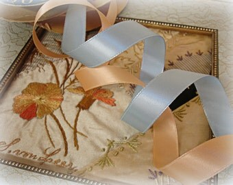 2 partial rolls vintage satin ribbon peach and baby blue rayon acetate woved edge ribbon on original rolls