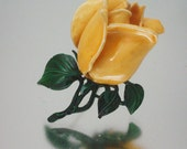 Very Large Yellow Rose Pin Enameled Life Size