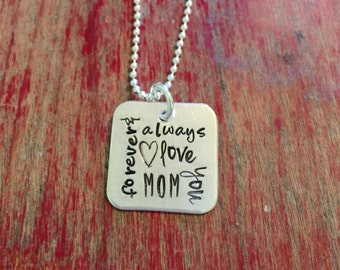 Remembrance necklace-subway art style mom necklace-hand stamped