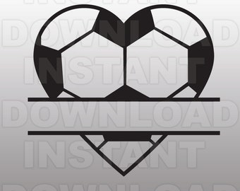 Soccer Ball Heart Split Monogram SVG File Cutting Template-Clip Art for Commercial & Personal Use-Vector Art file Cricut,Cameo,Sizzix,Vinyl