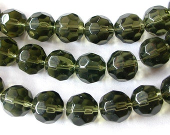 Green Beads  12mm Faceted Green Gray Glass Beads (30)