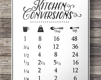Kitchen conversions chart - kitchen measurements sheet -  Printable wall art  - Instant download digital print