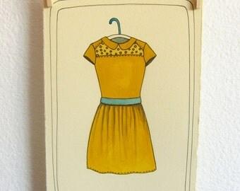 Art Illustration - Illustration Art - Original Drawing - Original Illustration - Wall Art - Home Decor - Yellow Dress Art - Yellow Dress