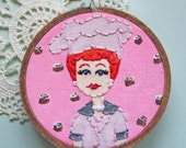 Embroidered Art Hoop - I Love Lucy