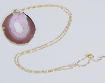SALE Beautiful Gilded Amethyst and Pink Slice Large Geode Necklace. Geode Jewelry, Statement Piece, 14k Gold Chain,Free Shipping