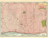 old map of Detroit, Michigan, showing the city streets from 1895, a 600 dpi digital file for large printing