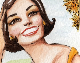 Edith with the Sunny Disposition - Original miniature watercolour painting