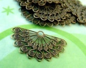 12pcs 38mm Antique Bronze Filigree Fan Wraps E163Y-AB