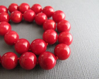 Red Bamboo Coral Bib Necklace, Sterling Silver Chain Long Length Necklace, Lipstick Red Jewelry, Classic Knotted Necklace