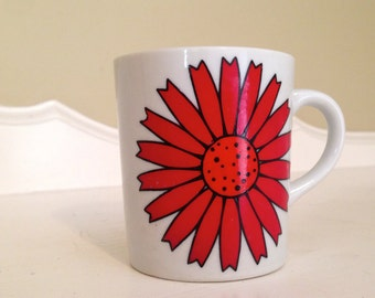 Flower Mug ~ Red Flower Mug ~ Retro Flower Mug ~ Coffee Cup ~ Red Flower
