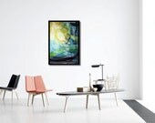 Abstract Art printable download poster size colourful print download paintings yellow aqua turquoise