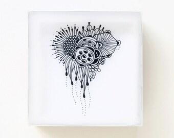 Mini Resin-Coated Print on Wood Panel - Floral Heart