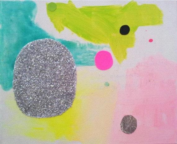 Modern Art Abstract Minimalist Landscape Seascape Pastel Neon Pink Geometric Organic Silver Original Canvas