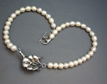Stunning Pearl and Sterling Necklace