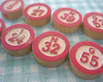BINGO Letters Vintage Wooden Game Pieces spells B I N G O 2 sets 15mm Red White Embossed and Painted Round lot of 10