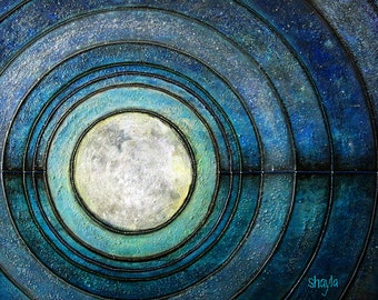 Enlightenment - metallic photographic print : modern zen, sacred geometry, moon and sky, teal