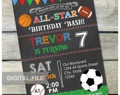 "All-Star Birthday Bash Sports Invitation Chalkboard Soccer Basketball Baseball Football Party - 5"" x 7"" Digital Invite"