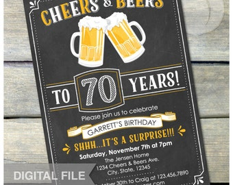 Surprise 30th Birthday Invitation Cheers and beers to 30
