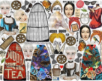 ART TEA LiFE Merrily Paper Dolls Collage Sheet digital file printable download decoupage clip art scrapbook journalling page