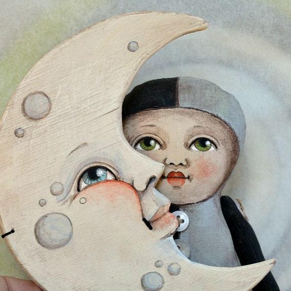 Moon Mask Anthropomorphic Hand-Painted Original Folk Art Cloth Doll OOAK