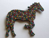 """carnival-the folk art horse, painted with acrylics, black base color, ready to hang, 5-1/2"""" wide x 6-1/4"""" long, 1/4"""" thick"""